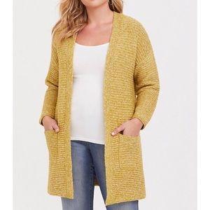 Torrid Open Cardigan pockets Long yellow size 12